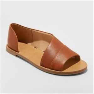 Cognac Faux Leather Asymmetrical Slide Sandals